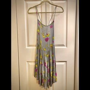 Free People lace-up floral slip dress M
